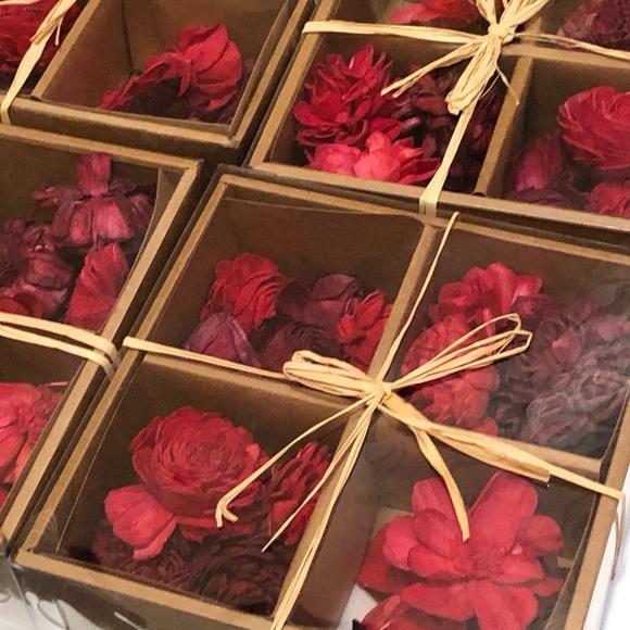 Red Floral Bowl Filler Set of Five Boxes